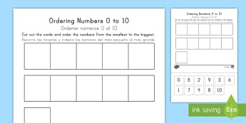 Ordering Numbers 0 to 10 - ordering numbers, 1 -10, 0-10, less than 10, practise, number, number sequence, maths, counting