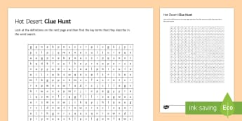 Hot Deserts Clue Hunt Activity Sheet - gsce, ks4, key, terms, living, world, word, search