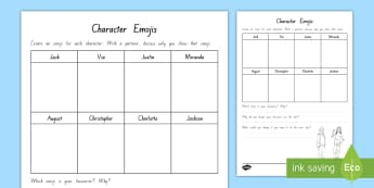 Years 5 and 6 Chapter Chat Character Emojis Activity to Support Teaching on Wonder by RJ Palacio - chapter chat, reading, emojis, literacy, wonder, rJ palacio