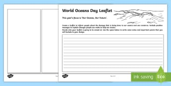 World Oceans Day Design a Leaflet Activity Sheets - CfE World Oceans Day (8th June), national days, oceans day, world oceans, oceans of the world, unite