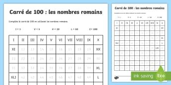 Carré de 100 : Les nombres romains  - FR Histoire KS2 (KS2 History), nombres, romains, 100, carré
