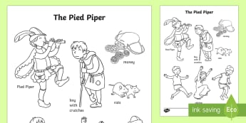 The Pied Piper Words Colouring Sheet - colouring, sheet, pied