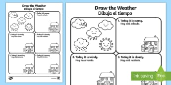 Draw the Weather Activity Sheet English/Spanish  - Draw the Weather Activity Sheet - weather, worksheet, drawing, sheet, waether, WHEATHER, wetaher, we