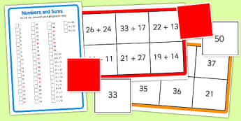 Addition to 50 Bingo - addition, bingo, 50, add, game, activity