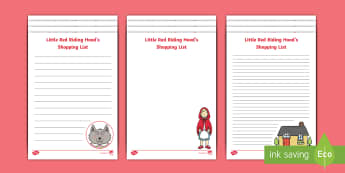 Little Red Riding Hood Shopping List Writing Template - Story, Storybook, Traditonal Tale, KS1, Key Stage One, List, Writing