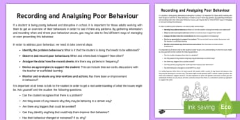 How to Identify, Track and Analyse Poor Behaviour Adult Guidance - Behave, Behaviour, behaviour management, classroom management, behaviour adult Guidance