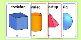 Plakaty Bryły geometryczne - matematyka, geometria, figury, bryły, geometryczne, trójwymiarowe, kula, ostrosłup, graniastosłu