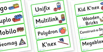 Editable Construction Area Resource Labels (Green) - Construction resource labels, Label template, Resource Label, Name Labels, Editable Labels, Drawer Labels, KS1 Labels, Foundation Labels, Foundation Stage Labels