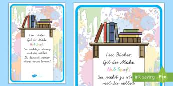 Lies Bücher Poster für die Klassenraumgestaltung - Motivation, Inspiration, Lesen, Buch, Deko, ,German