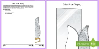 Giller Prize Trophy Worksheet / Activity Sheet