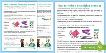 How to Make a Friendship Bracelet Activity Sheet - craft, behaviour, transition, change, PSHE, families, young people, emotions