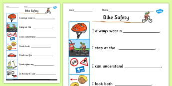 Keeping Myself Safe When Cycling Safety Worksheet / Activity Sheet- cycling, safety, worksheet, sheet