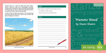 GCSE Poetry Notes for Study to Support Teaching on 'Mametz Wood' - owen, sheers, eduqas, english literature, exam, poem,
