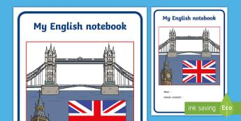 Couverture de cahier : Cahier d'anglais - Cycle 1, cycle 2, cycle 3, organisation de la classe, classroom organisation, couverture, cahier, an