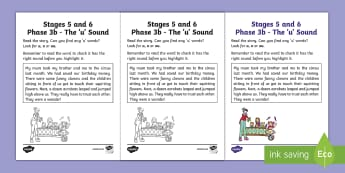 Northern Ireland Linguistic Phonics Stage 5 and 6 Phase 3b, 'u' Sound Worksheet / Activity Sheet - Linguistic Phonics, Phase 3b, Northern Ireland, 'u' sound, sound search, text, Worksheet