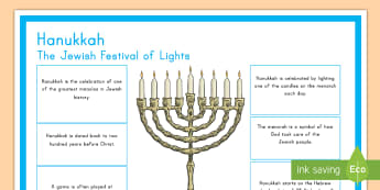 Hanukkah Large Information Display Poster - Judaism, festival of lights, miracle of the oil, menorah, maccabees, jewish, religion, december, fes