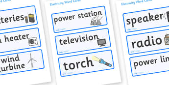 Electricity Word Cards - Electric, safety, safe, cards, word card, flashcards, writing aid, power, circuit, electricity, battery