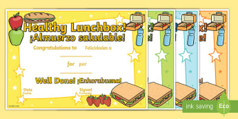 * NEW * Healthy Lunchbox Certificates - English / Spanish  - Healthy Lunchbox Certificates, healthy eating, healthy eating certificate, food, award certificate,