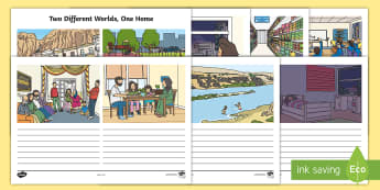 Two Different Worlds, One Home Worksheet / Activity Sheet - KS1, Key Stage One, Year One, Year Two, Year 1, Year 2, Refugee, Refugees, Refugee Week, Maya, Two W