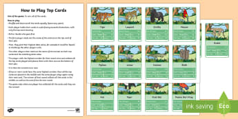 Jungle Animals Themed Top Card Game -  - Top Trumps, Activity, Safari, Play, Data, Endangered Species, Endangered animals