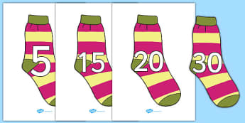 Numbers 0-31 on Socks - 0-31, foundation stage numeracy, Number recognition, Number flashcards, counting, number frieze, Display numbers, number posters