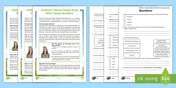 UKS2 Children's Mental Health Week 2018 Differentiated Reading Comprehension Activity - duchess of cambridge, being ourselves, belonging,positive thinking, self esteem, place to be, wellbe