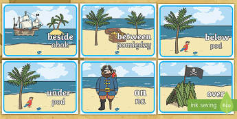 Pirate Positional Language Posters English/Polish - pirates, positions, on, in, under, describing,Polish-translation