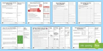 State of Origin Maths Year 4 - 6 Resource Pack - Australian Sporting Events Maths, state of origin, rugby, maths, ACMMG115, ACMMG110, ACMMG112, ACMSP
