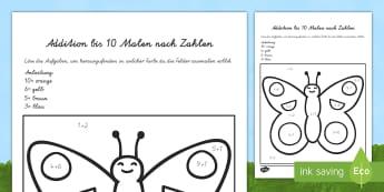 Schmetterling Addition bis 10 Malen nach Zahlen - Addieren, plus, plus rechnen, Schmetterling, ausmalen, Ausmalbild, Insekten,German