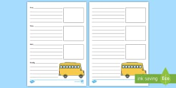 School Trip Recount Writing Frames - school trip writing frame, school trip, writing frame, bus, school, trip, outing, excursion, trip ou
