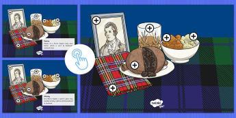 Burns Supper Picture Hotspots-Scottish - CfE, calendar events, Scotland, Scottish, traditions, history, celebrations, Robert Burns, bard, Jan