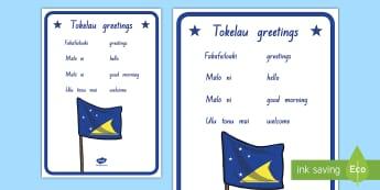 Greetings in Tokelau Display Poster - tokelau, tokelaun, tokelau language week, greetings, hello, pasifika