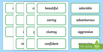 People Adjectives Word Cards - describe, describing words, spag, grammar,