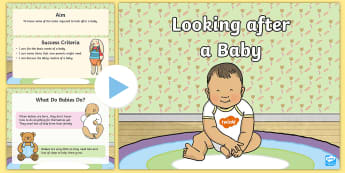 CfE (First) Looking After a Baby PowerPoint - health, wellbeing, parenthood, babies, baby, newborn, looking after, caring,