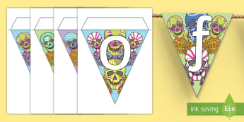 Day of the Dead Display Bunting - mexico, fiesta, celebrate, ks2, ks1