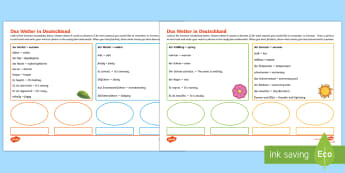 Weather in Germany Activity Sheet German - Weather, Word Mat, Wetter, German, German sentences, worksheet