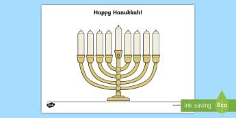 Hanukkah Menorah Fingerprint Craft - Jewish Holidays, Happy Hanukkah, Menorah, Hanukkah Keepsakes, Preschool, PreK
