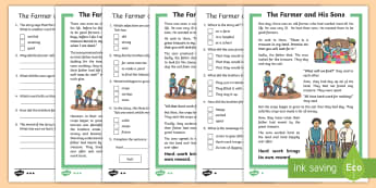 KS1 The Farmer and His Sons Differentiated Reading Comprehension Activity - Develop pleasure in reading, motivation to read, vocabulary and understanding, Understand what they