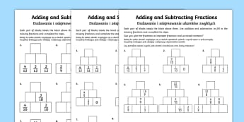 Adding and Subtracting Fractions Activity Sheet English/Polish - fractions, adding fractions, add fractions, total, subtracting fractions, subtract fractions, take a
