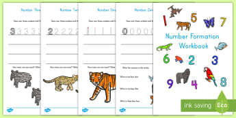 Jungle and Rainforest Number Formation Workbook Activity - writing, numbers, number formation, counting, math, number recognition
