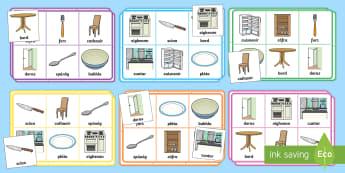 The Kitchen Bingo Gaeilge - Home, house, Rooms, Sa Bhaile, seomra, Kitchen, Sa Chistin, Irish