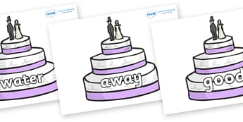 Next 200 Common Words on Wedding Cakes - Next 200 Common Words on  - DfES Letters and Sounds, Letters and Sounds, Letters and sounds words, Common words, 200 common words