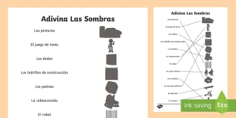 Toys Shadow Matching Activity Sheet - Spanish  - Spanish, KS2, toys, shadows, matching, activity, sheet, worksheet