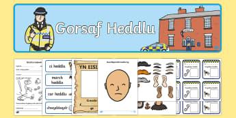 Pecyn Chwarae Rôl Gorsaf Heddlu - heddlu, plismon, plismyn, pobl, helpu, cymuned,,Welsh