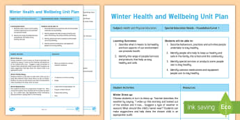 Winter Health and Wellbeing Unit Plan Template - cold, hygiene, lifeskills, seasons, healthy, care, warm, warmth, scarf, clothing, beanie,Australia
