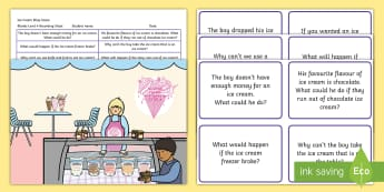 Ice Cream Shop Scene Blanks Level 4 Questions - receptive language, expressive language, verbal reasoning, language delay, language disorder, comprehension, autism