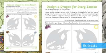 Wyrmstooth Crown Design a Dragon for Every Season Activity Sheet - worksheet, seasons, art, draw, create, spring, summer, autumn, winter