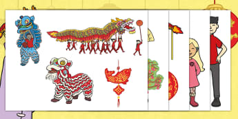 Dragons in the City Story Cut-Outs - Twinkl Originals, fiction, Chinese New Year, Mandarin, culture, China, KS1, role play, retell