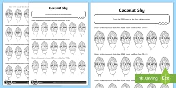 Finding 1000 More or Less Fairground Themed Activity Sheet - coconut shy, colour numbers, identify numbers, place value, 4 digit numbers, worksheet