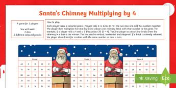 Santa's Chimney - Multiplying by 4 Activity Sheet - multiplication, times tables, multiples, numeracy, maths, mathematics,Scottish